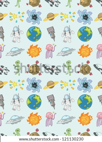 seamless space pattern cartoon