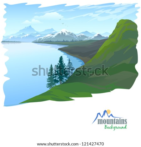 snow mountain and blue water