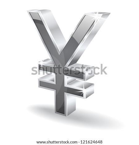 3d glossy japanese yen vector