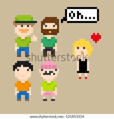 set of pixel people icons