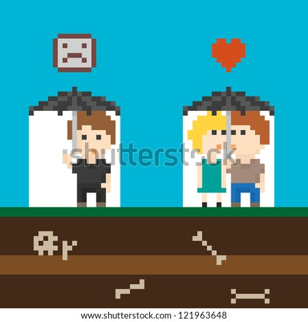 pixel art couple in love and
