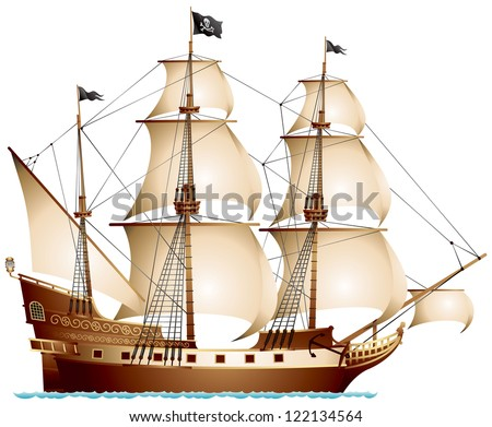 pirate ship  sailing ship under
