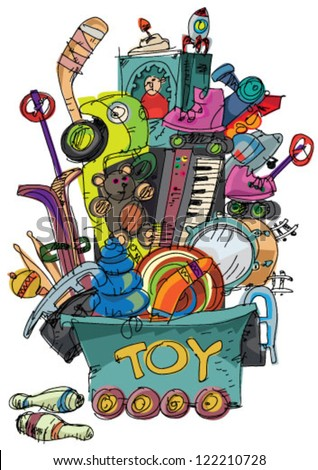 mass of toys   cartoon   vector