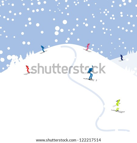 people skiing  winter mountain