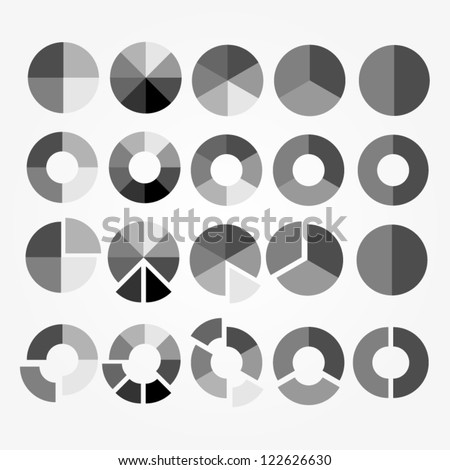 set of black and white circle