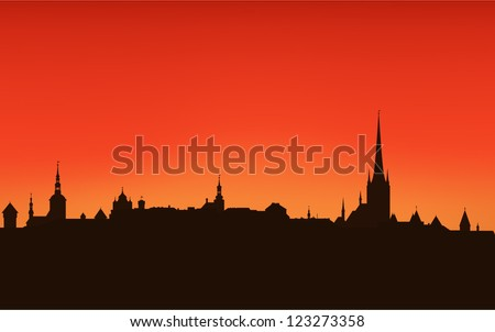 tallinn city sunset skyline