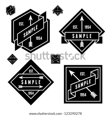 monochrome geometric label with