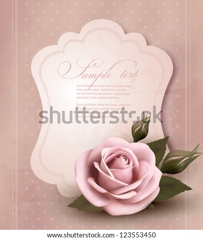 retro greeting card with pink