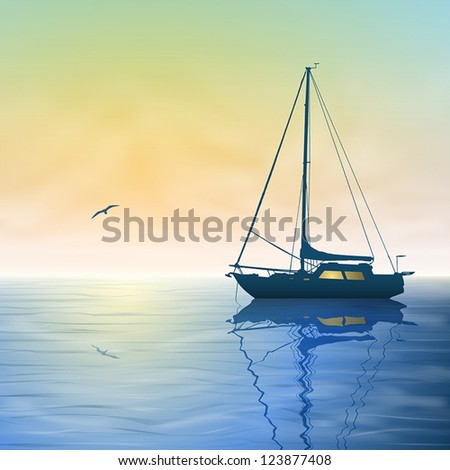 a sailing boat with misty