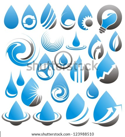vector set of water drops icons