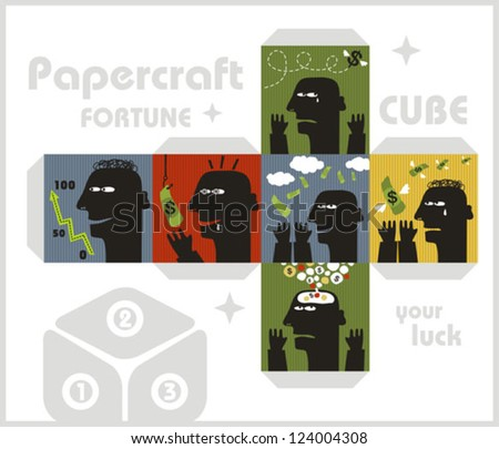 paper cube with monsters for
