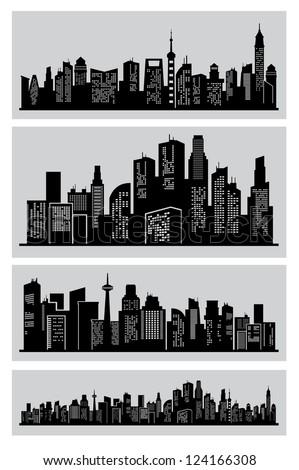 vector black city icons set on