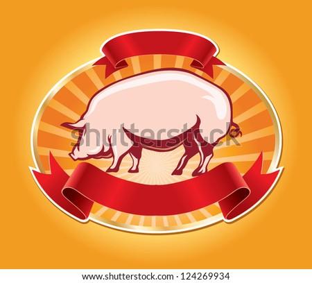fresh pork label with pig