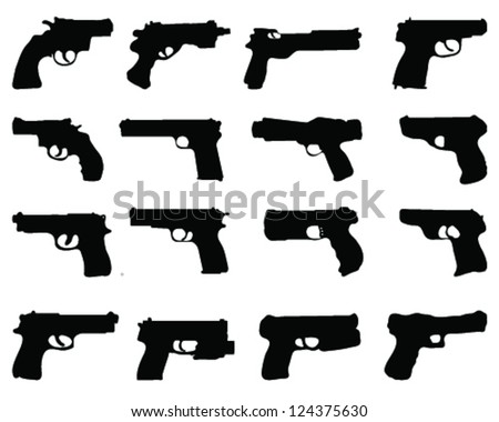 silhouettes of guns vector
