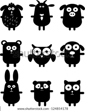 set of funny black animals