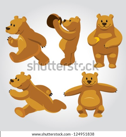 vector honey bear poses