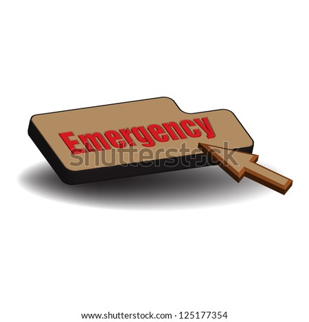 isolated brown emergency button
