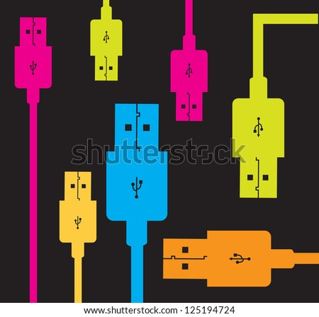 usb colors over black