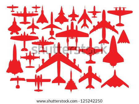 aircrafts in red silhouettes