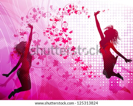background with jumping girls