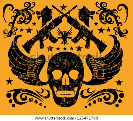 tattoo skull and gun vector art