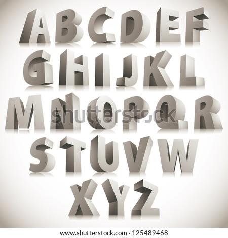 3d font  big white letters
