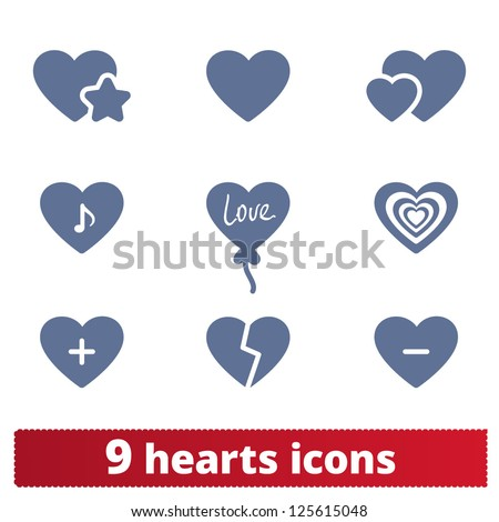 hearts icons  vector set of