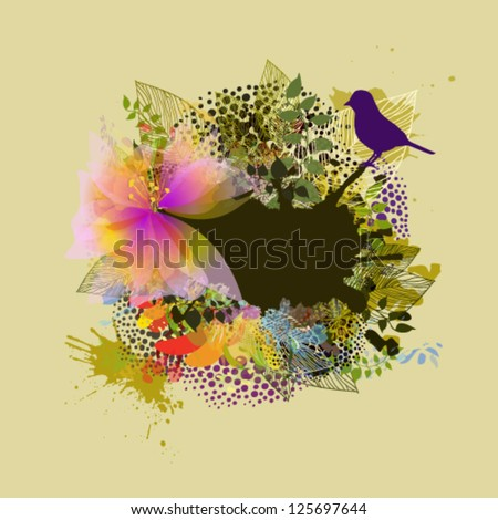 floral abstraction with bird