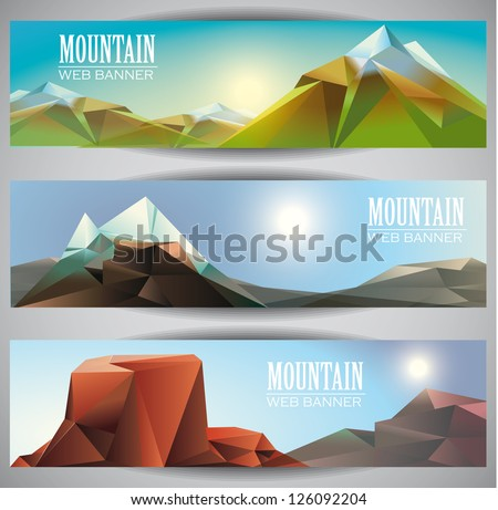 low polly mountains  web banners