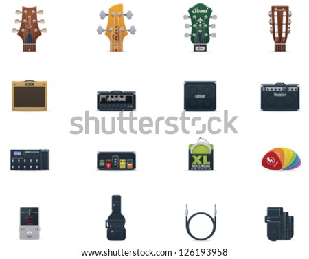 vector guitar icons set part 1
