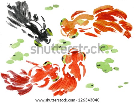 goldfish vector watercolor