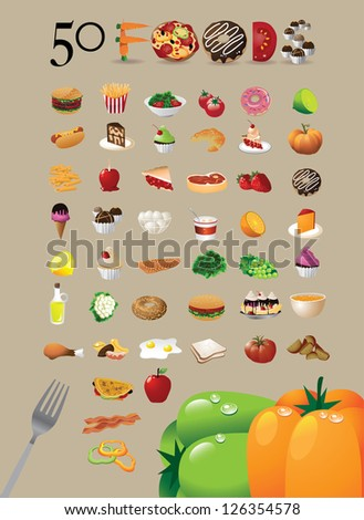 50 food icon symbol set eps 8
