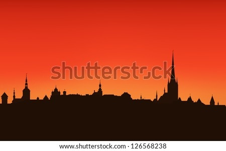 raster   tallinn city sunset