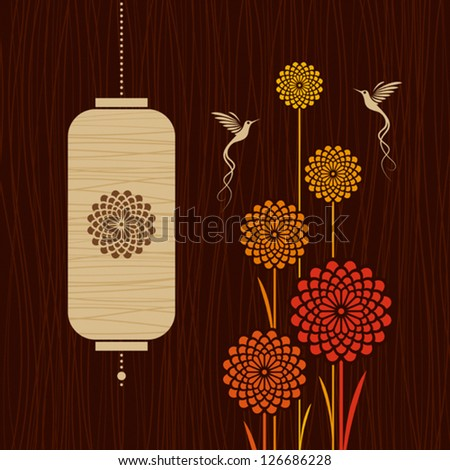 card with birds  flowers and