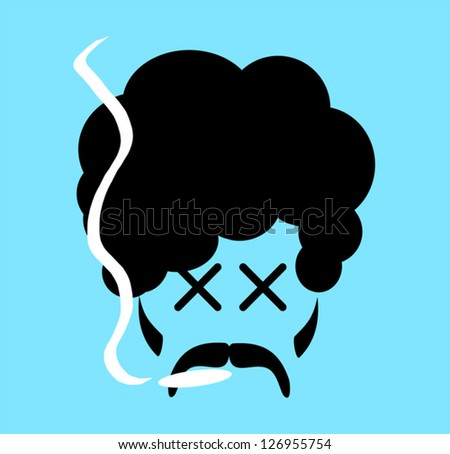 cartoon of man smoking marijuana
