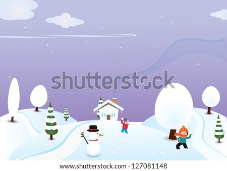 kids playing in snow vector