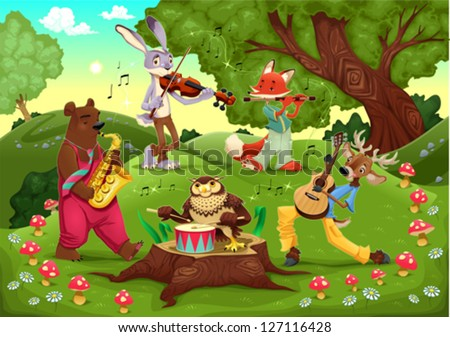 musicians animals in the wood