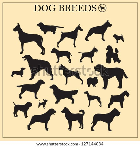 dog breeds silhouettes