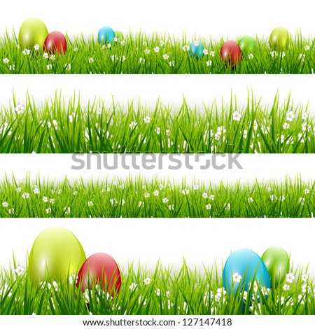 grass with eggs   vector set