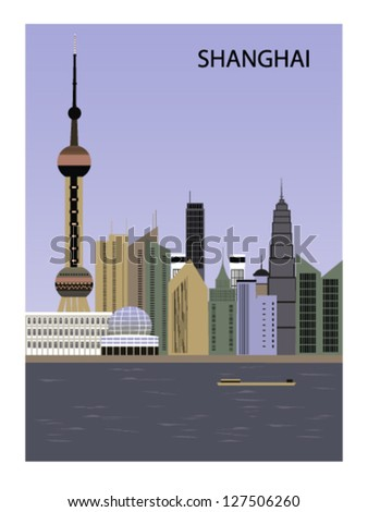 chinashanghai city vector