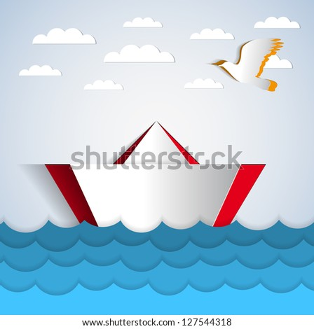 vector paper boat sticker