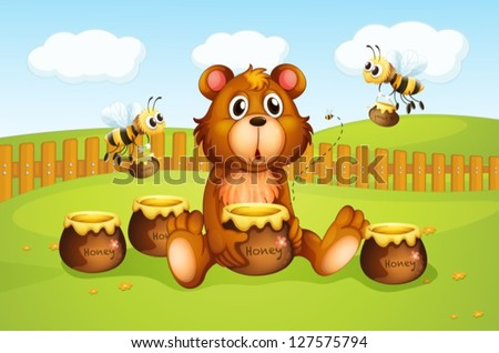 illustration of a bear and bees