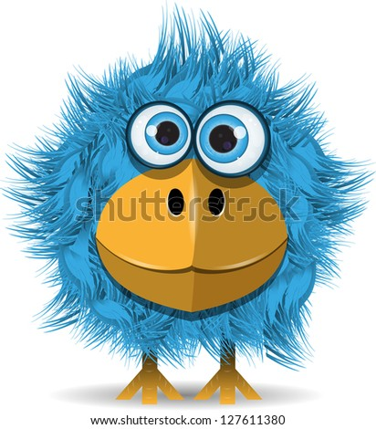 illustration  funny blue bird