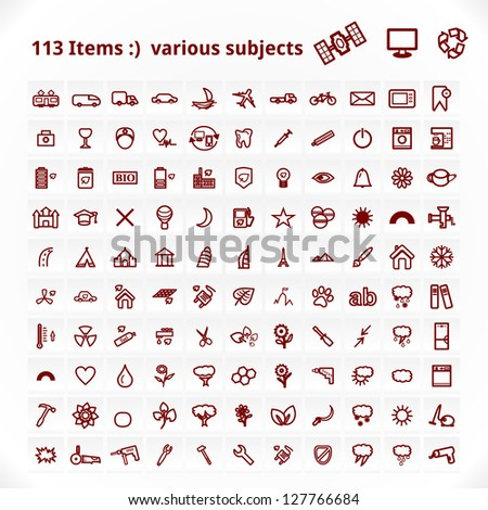 various subjects icons vector