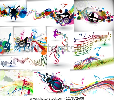 music notes wave line for