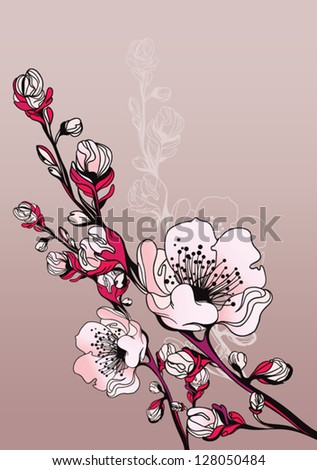 branch of blossoming oriental