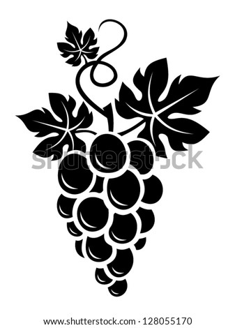 black silhouette of grapes