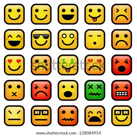 vector color icons of smiley