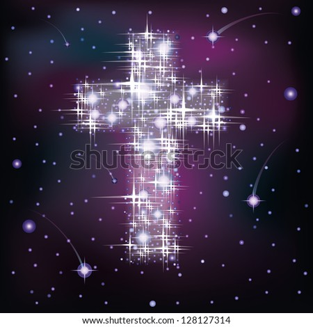 cross in starry sky  vector