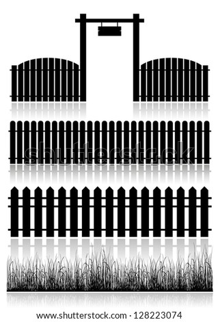 set of fences  gate and grass